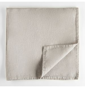 Serviette de table en lin gris