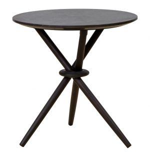Table d'appoint en marbre et chêne noire