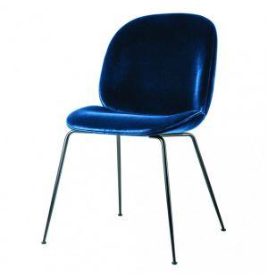 Chaise en velours Beetle - piétement noir