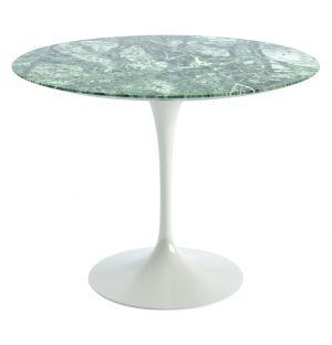 Table ronde marbre Verde Alpi D 91cm - base blanche - Knoll