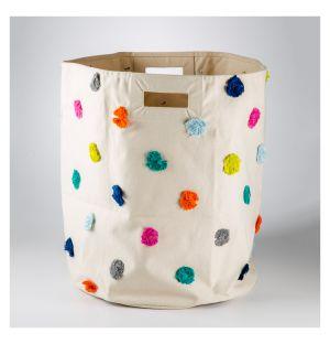 Panier Pompons multicolore - diam 45,7 cm