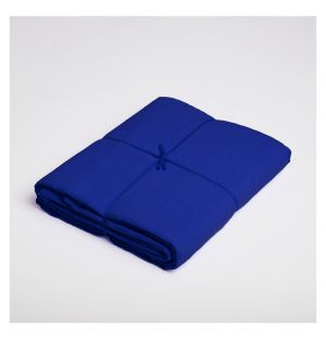 Drap plat en lin bleu de travail - 240 x 290 cm