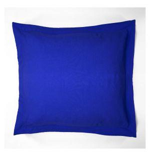 Taie d'oreiller Oxford en lin bleu de travail - 65 x 65 cm