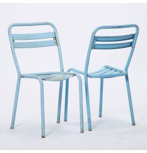 Chaise Tolix authentiques bleu 1960s