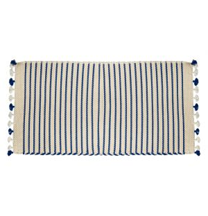 Tapis de bain Sadek ivoire & bleu - 53 x 96 cm