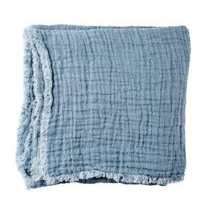 Plaid en lin gaufré bleu - 160 x 210 cm