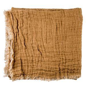Plaid en lin gaufré caramel - 160 x 210 cm