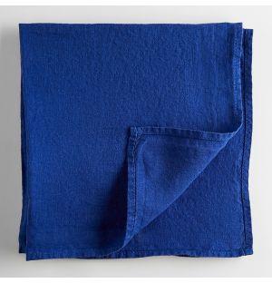 Serviette de table en lin bleu de travail