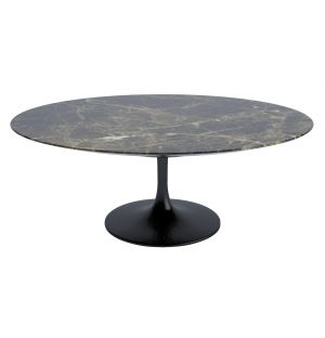 Table basse ovale marbre marron Emperador satiné D 107 cm - base noire - Knoll