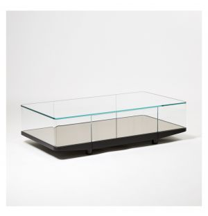 Table basse Collector bronze & miroir