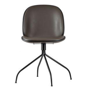 Chaise Beetle cuir cappuccino passepoil noir - piétement noir pivotant - Gubi
