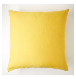Housse de coussin en lin jaune