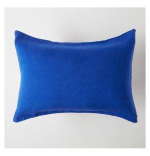 Taie d'oreiller en lin 50 x 40cm Bleu de travail