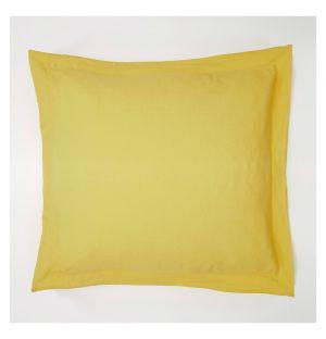 Taie d'oreiller Oxford en lin ocre jaune - 65 x 65 cm
