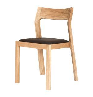 Chaise Profile chêne & cuir marron