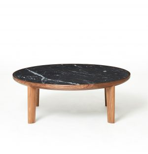 Table basse Hole en noyer & marbre noir Marquina