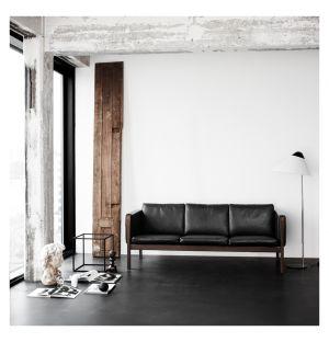 Canapé CH163 noyer huilé & cuir Sif noir