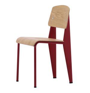 Chaise Standard - assise et dossier chêne - piétement rouge japonais - Vitra