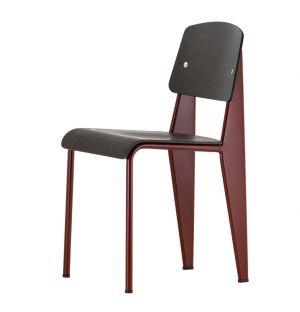 Chaise Standard - assise et dossier chêne foncé - piétement rouge japonais - Vitra