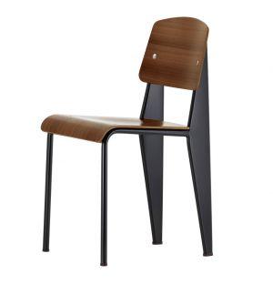 Chaise Standard - assise et dossier noyer pigmenté noir - piétement noir - Vitra