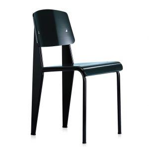 Chaise Standard SP - assise et dossier en plastique noir - piètement noir - Vitra