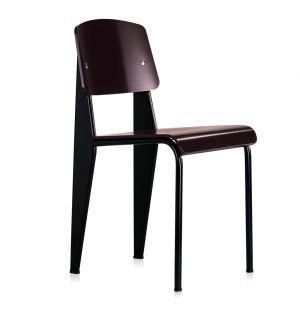 Chaise Standard SP - assise et dossier en plastique marron - piètement noir - Vitra