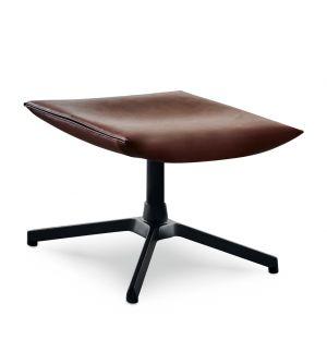 Repose-pied Pilot - cuir Venezia - piétement époxy noir - Knoll