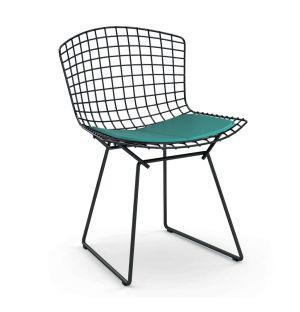 Chaise Bertoia Rilsan noir - galette d'assise tissu Divina - Knoll