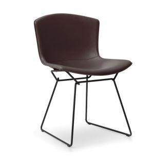 Chaise Bertoia époxy noir - cuir sellier - Knoll