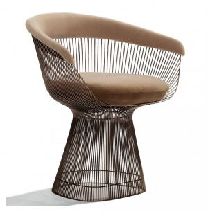 Petit fauteuil Platner tissu Alpaca - bronze métallisé - Knoll
