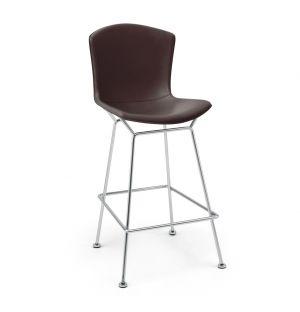 Tabouret Bertoia hauteur comptoir structure chrome poli - cuir sellier - Knoll