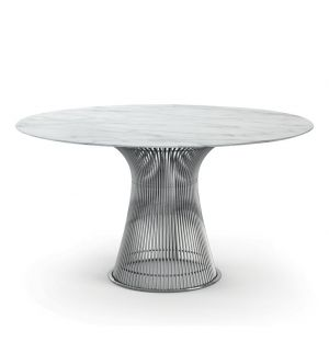 Table ronde Platner marbre Arabescato - nickel poli - Knoll