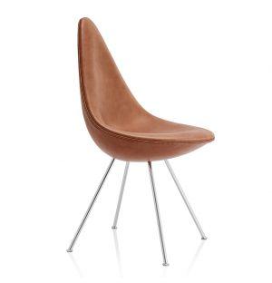 Chaise Drop en cuir Grace - piètement chromé