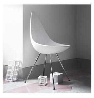 Chaise Drop coque plastique - piètement chromé