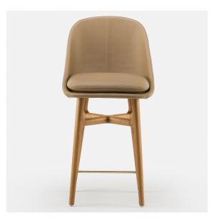 Chaise de bar Solo 750T en chêne danois huilé et cuir