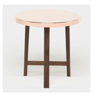 Table d'appoint Trio noyer & cuivre - De La Espada
