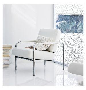 Fauteuil Susanna acier chromé & cuir blanc - Zanotta