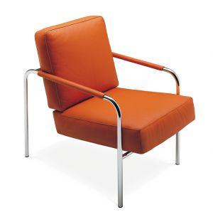 Fauteuil Susanna acier chromé & cuir orange - Zanotta
