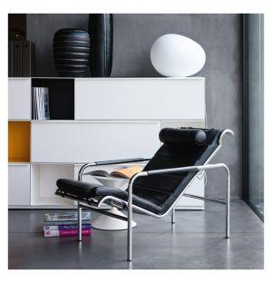 Chaise longue Genni chrome et cuir Pelle Nappa