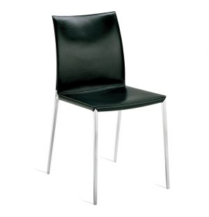 Chaise Lia en cuir noir et aluminium poli