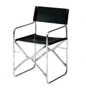 Chaise pliante noire April - chrome