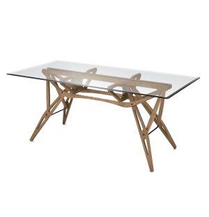 Table Reale rouvre teinté noyer canaletto - plateau en verre - Zanotta