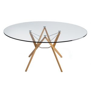Orione Table Natural 135Cm Dia Oak Glass