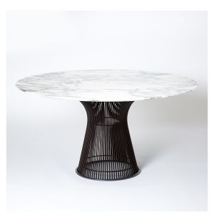 Table ronde Platner marbre Arabescato - piétement bronze métallisé – Knoll
