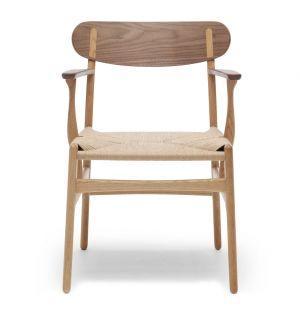 Chaise CH26 en noyer et chêne huilé & assise en corde de papier naturelle