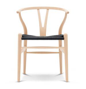 Chaise Wishbone CH24 bouleau savonné et corde noire