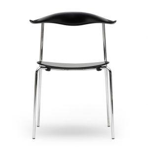 Chaise CH88T chrome et hêtre noir
