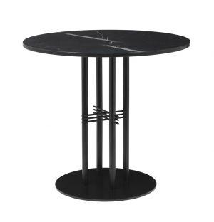 Table TS Column - plateau en marbre diam 80 - base noire - Gubi