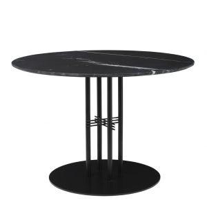 Table TS Column - plateau en marbre diam 110 - base noire - Gubi