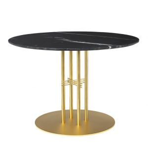 Table TS Column - plateau en marbre diam 110 - base en laiton - Gubi